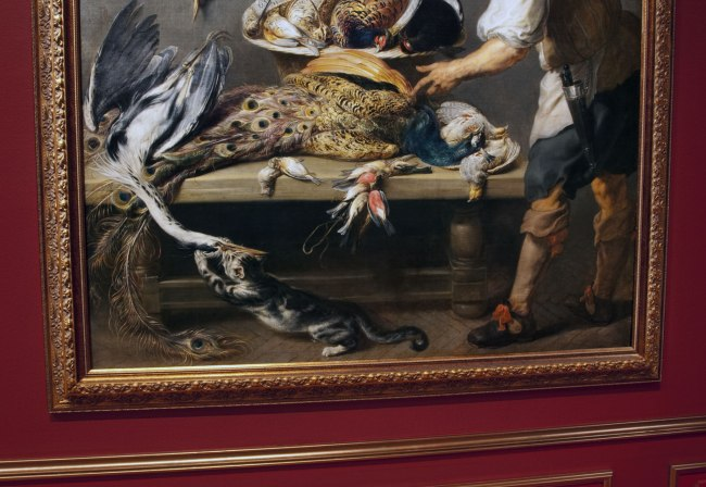 Frans Snyders (Flemish 1579-1657) Jan Boekckhorst (German 1605-68) 'Cook at a kitchen table with dead game' c. 1636-37 (detail)