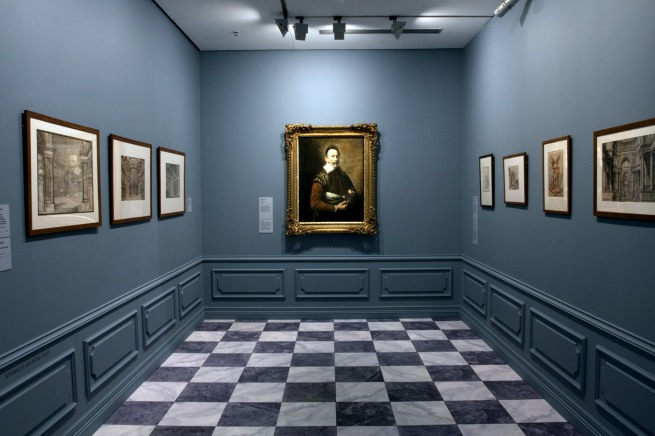 Installation view of room 2 of the exhibition 'Masterpieces from the Hermitage: The Legacy of Catherine the Great' at NGV International, Melbourne featuring Domenico Fetti (Italian 1589-1623) 'Portrait of an actor' 1620s