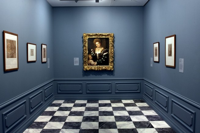 Installation view of room 2 of the exhibition 'Masterpieces from the Hermitage: The Legacy of Catherine the Great' at NGV International, Melbourne featuring Paris Bordone (Italian 1500-71) 'Portrait of a lady with a boy' Mid 1530s