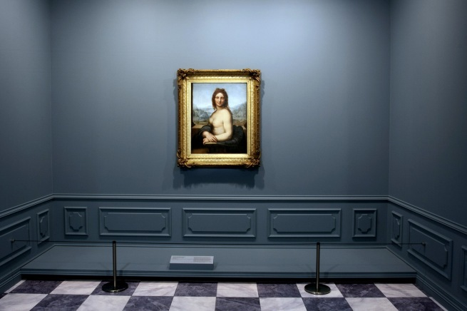 Installation view of room 2 of the exhibition 'Masterpieces from the Hermitage: The Legacy of Catherine the Great' at NGV International, Melbourne featuring Leonardo da Vinci (school of) 'Female nude (Donna Nuda)' Early 16th century