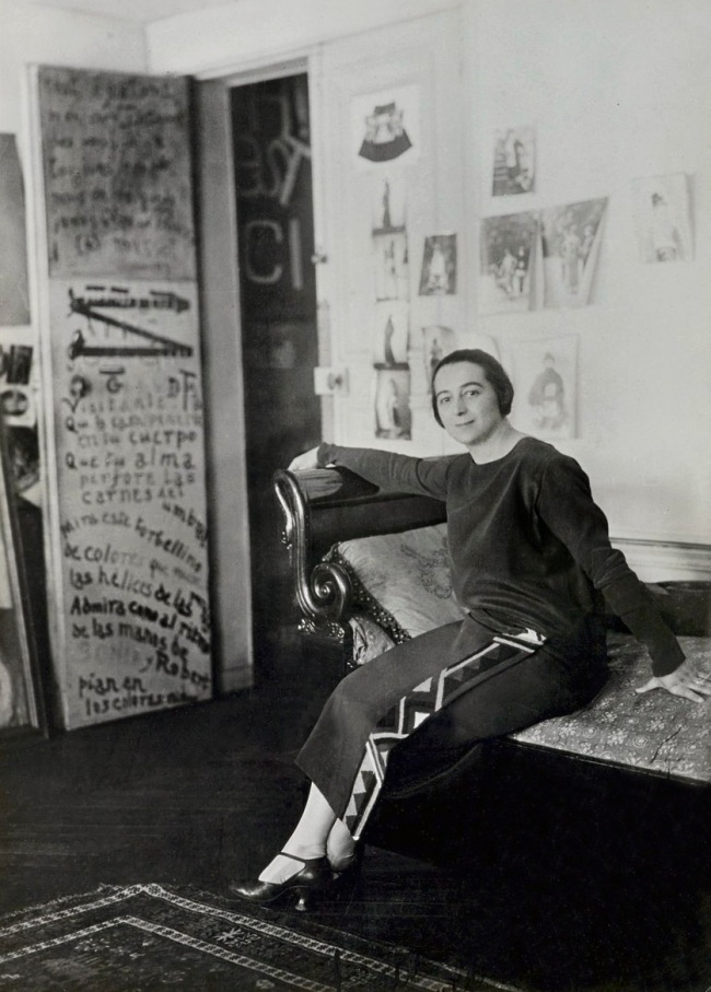 Unknown photographer. 'Sonia Delaunay in front of her door-poem in the Delaunays' apartment, Boulevard Malesherbes, Paris' 1924