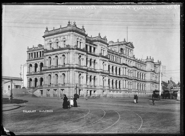 Alfred Elliott. 'Treasury Building, William Street' 1895