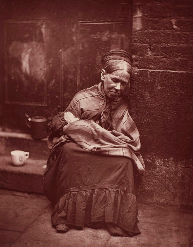 John Thomson (publisher). 'Portrait of a destitute woman with an infant' 1877