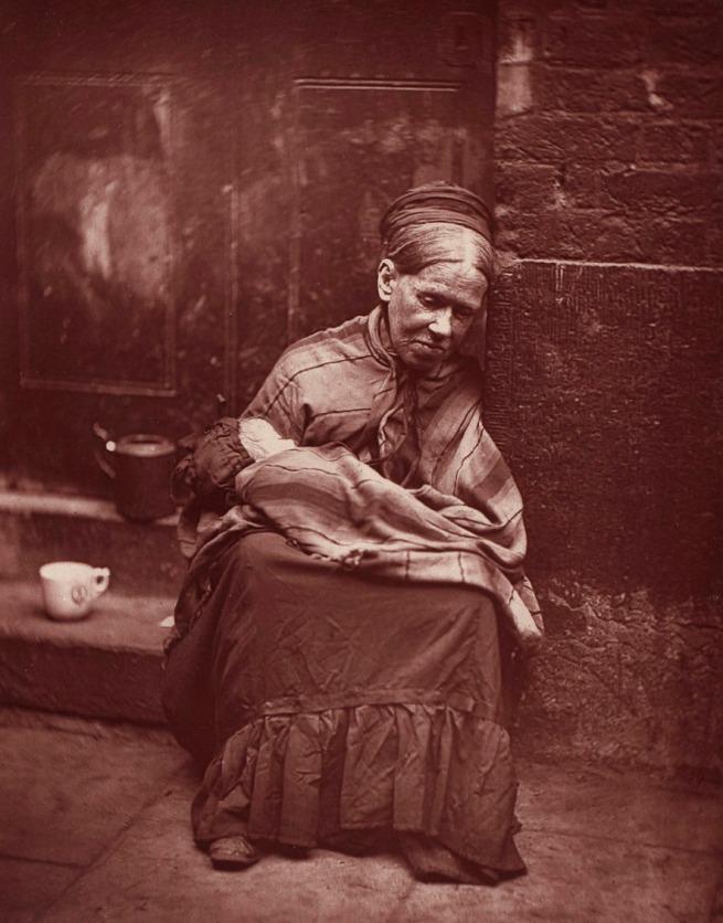 John Thomson (publisher). 'Portrait of a destitute woman with an infant' 1877