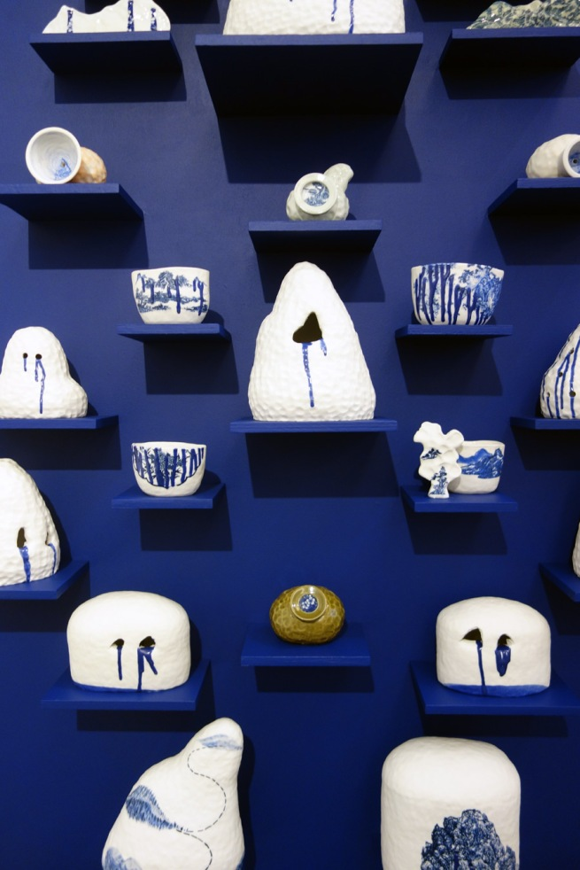Robyn Phelan (b. Australia 1965) 'Porcelain wall – ode to an obsession' 2010-15 (detail)