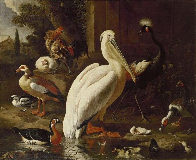 Melchior d'Hondecoeter (Dutch 1636–95) 'Birds in a park' 1686