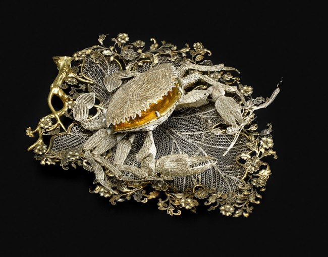 Chinese. 'Crab-shaped box on a leaf tray' 1740s –50s