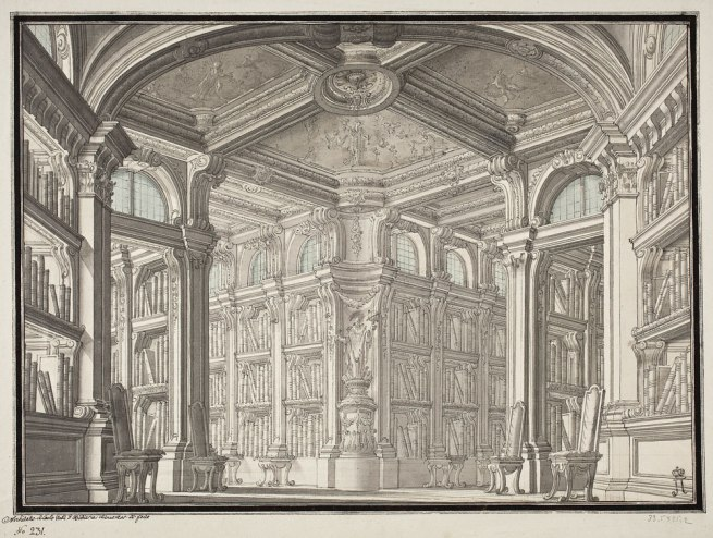 Carlo Galli-Bibiena (Austrian 1728–87) 'Design for the interior decoration of a library' 1770s