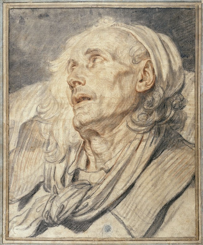 Jean-Baptiste Greuze (French 1725–1805) 'Head of an old man. Study for The paralytic' 1760s