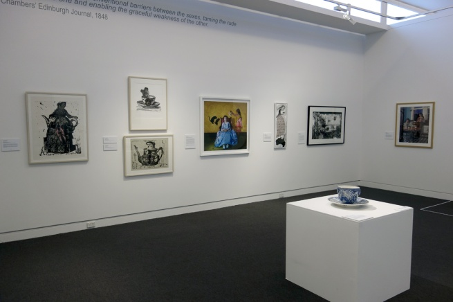 Installation photograph of the exhibition 'Storm in a Teacup' at the Mornington Peninsula Regional Art Gallery