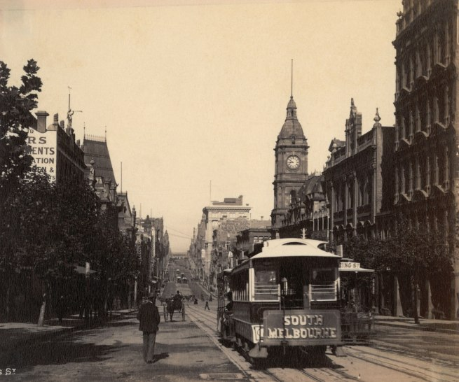 Charles Kerry (Australia 1858-1928) 'Collins Street, looking south' c. 1890