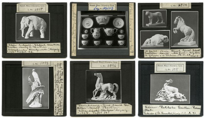 Glass diapositives for slide lectures from the archive of the MKG Nd