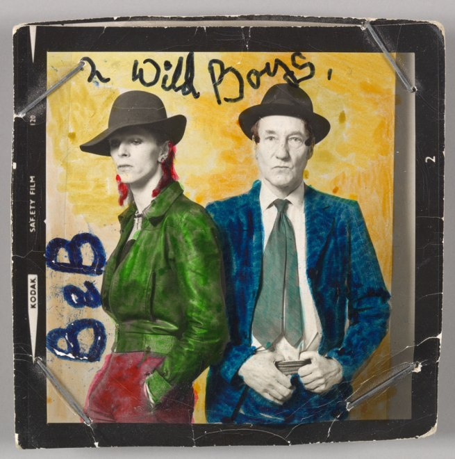 Photograph by Terry O'Neill with colour by David Bowie. 'David Bowie with William Burroughs, February 1974' 1974