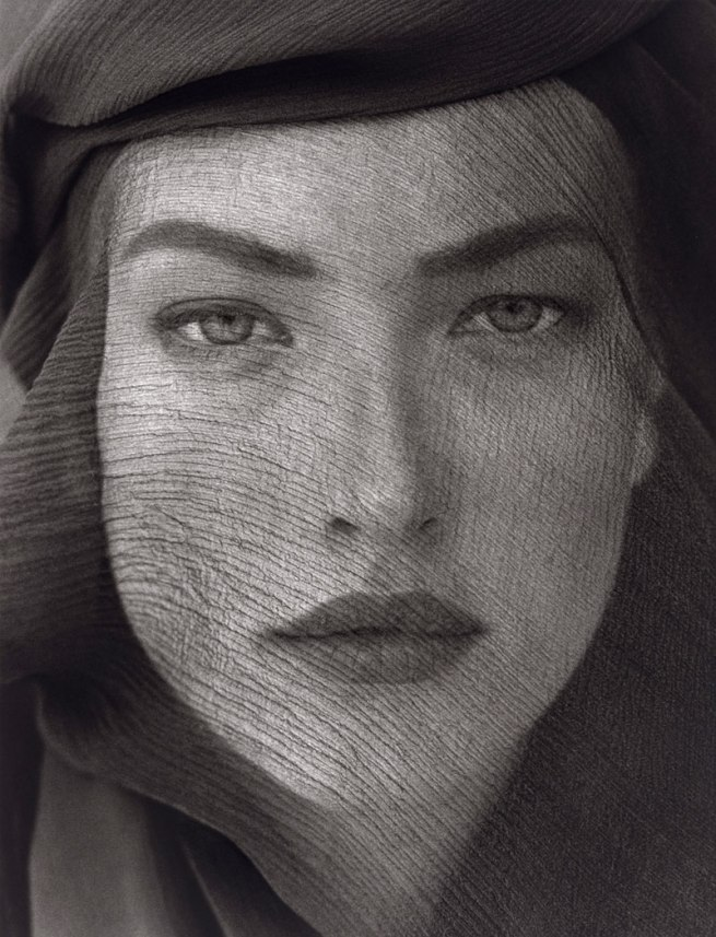 Herb Ritts. 'Tatjana Veiled Head, Tight View, Joshua Tree' 1988
