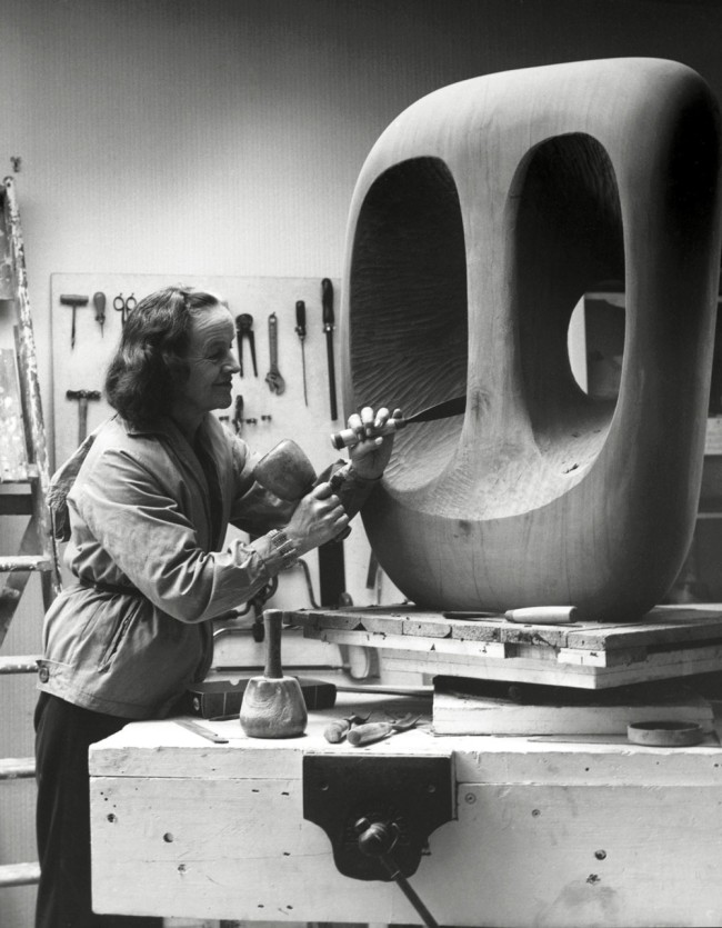 Val Wilmer. 'Barbara Hepworth in the Palaisde la Dansestudio, St Ives,at work onthe wood carving Hollow Form with White Interior' 1963