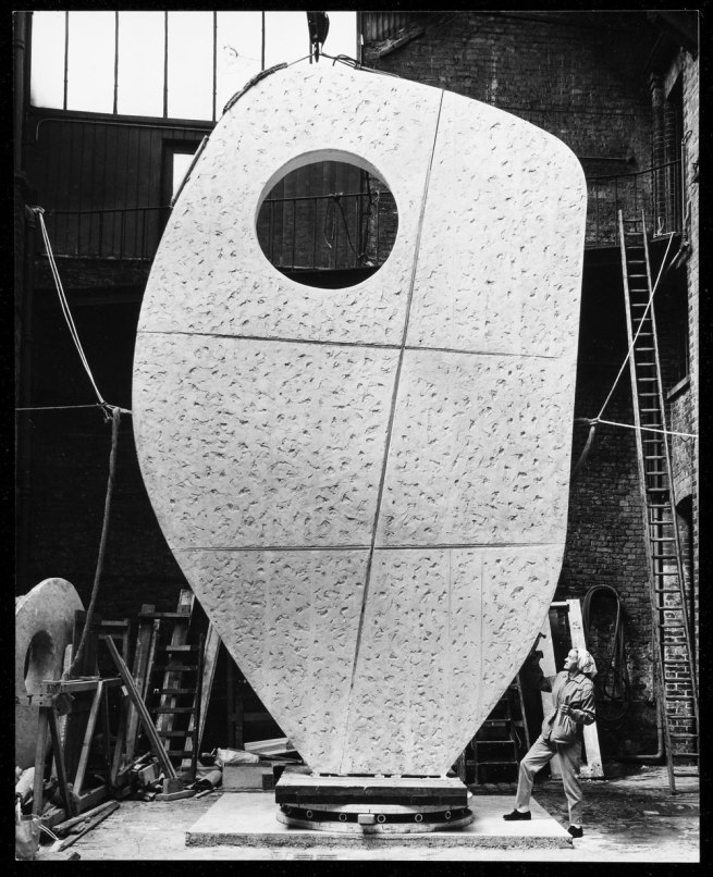 Morgan-Wells. 'Barbara Hepworth with the plaster of Single Form 1961-4 at the Morris Singer foundry, London, May 1963' 1963