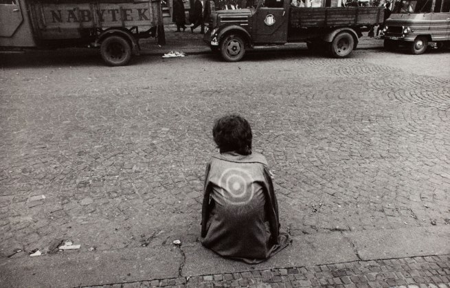 Josef Koudelka. '(Czech citizen on sidewalk, wearing jacket with target)' 1968