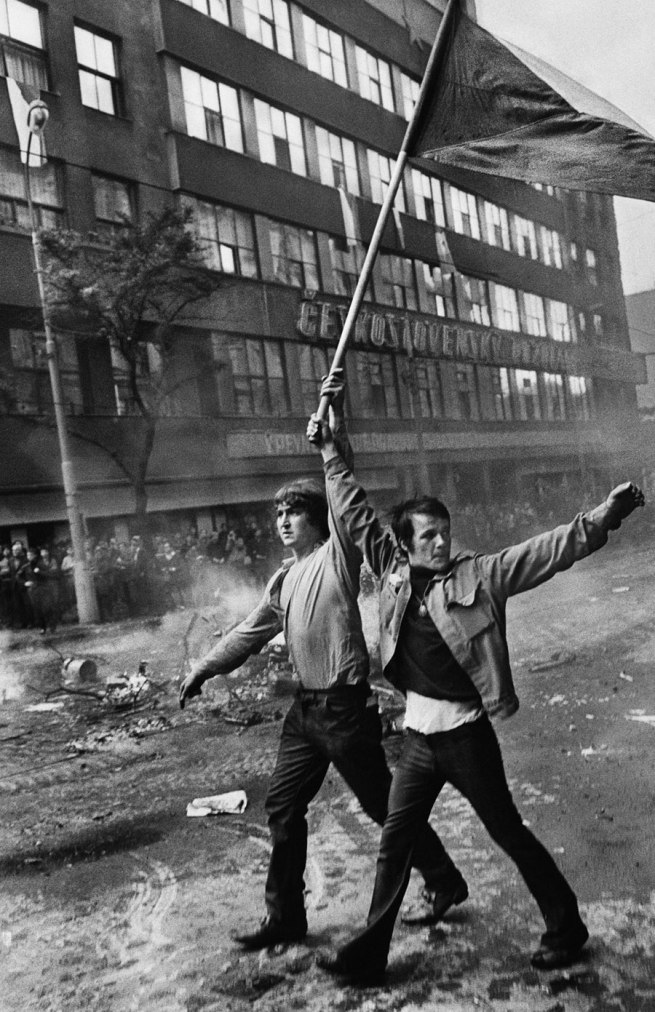 Josef Koudelka. '(Two Czech citizens with flag)' 1968