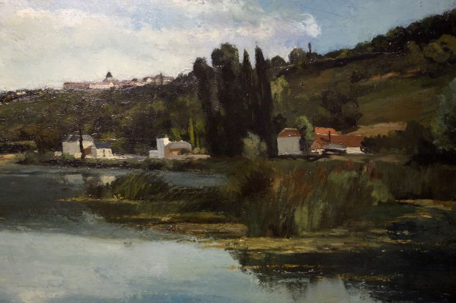 Camille Pissarro (France, 1830-1903) 'The Marne at Chennevières' (detail) c. 1864-65