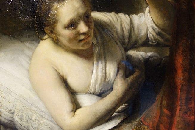 Rembrandt van Rijn (The Netherlands, 1606-69) 'A woman in bed' (detail) 164(7?)