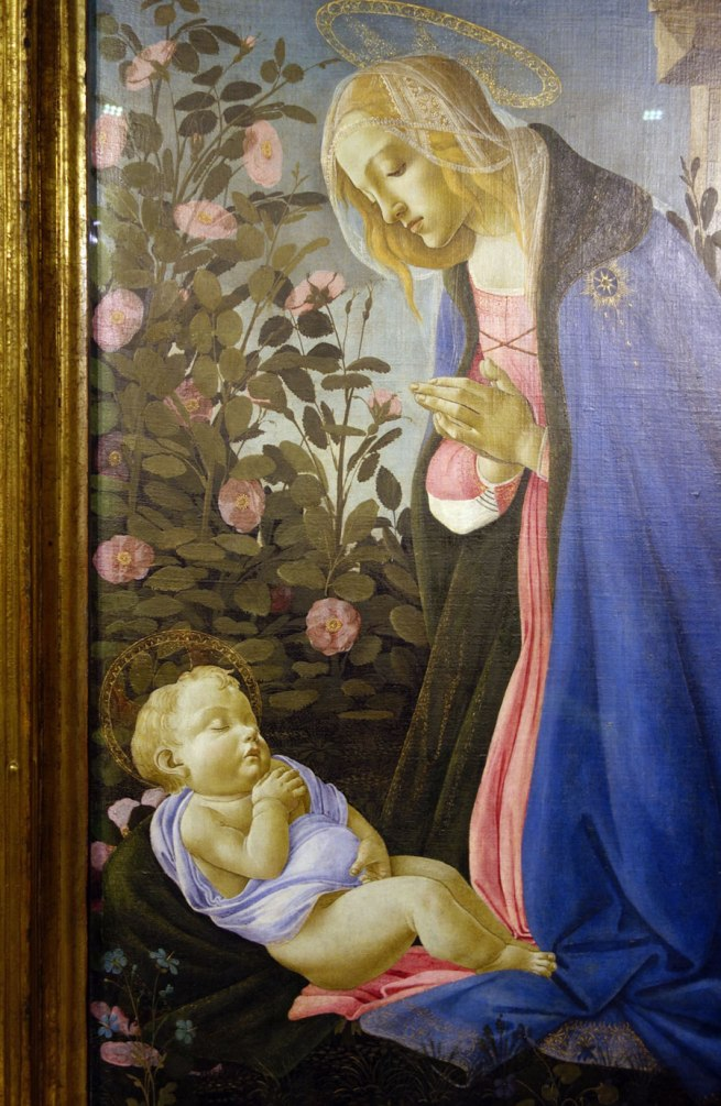 Sandro Botticelli (Italian, 1444/45-1510) 'The Virgin adoring the sleeping Christ child' ('The Wemyss Madonna') c. 1485 (detail)