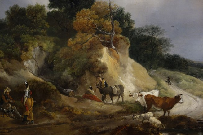 Thomas Gainsborough (England, 1727-88) 'River landscape with a view of a distant village' (detail) c. 1748-50