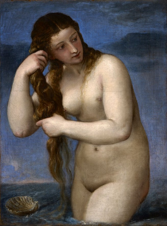 Titian (Tiziano Vecellio) (Italian, c. 1485/90–1576) 'Venus rising from the sea (Venus Anadyomene)' c. 1520–25