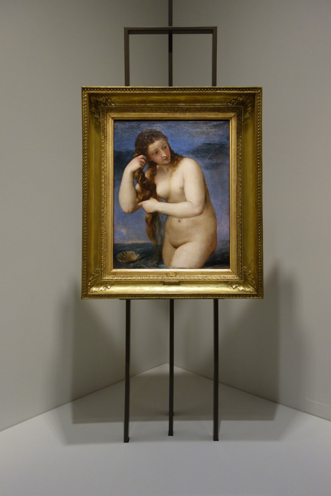 Installation photograph of Titian (Tiziano Vecellio) (Italian, c. 1485/90–1576) 'Venus rising from the sea (Venus Anadyomene)' c. 1520–25