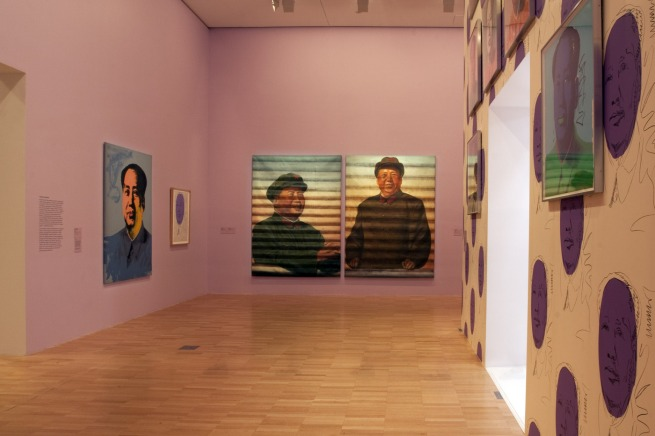 Installation view of part of the fifth room showing, on the far wall, Ai Weiwei's portraits of Mao: 'Mao (Facing Right)' (1986) and 'Mao (Facing Forward)' (1986)