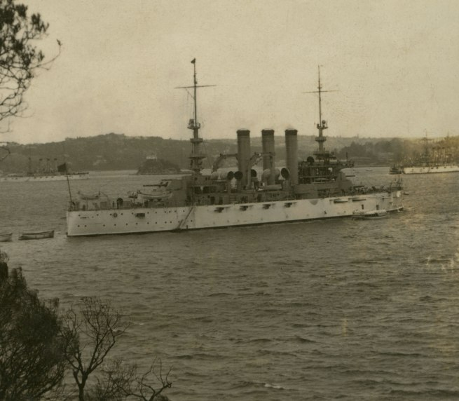 The Rose Stereographs. 'The U.S.S. Georgia at anchor off Bradley's Head, Sydney Harbour' 1908 (detail)