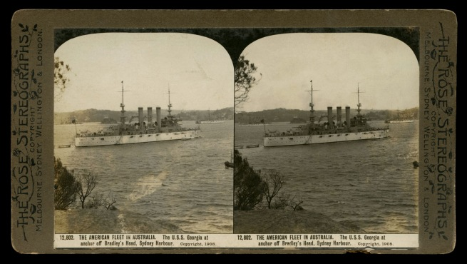 The Rose Stereographs. 'The U.S.S. Georgia at anchor off Bradley's Head, Sydney Harbour' 1908