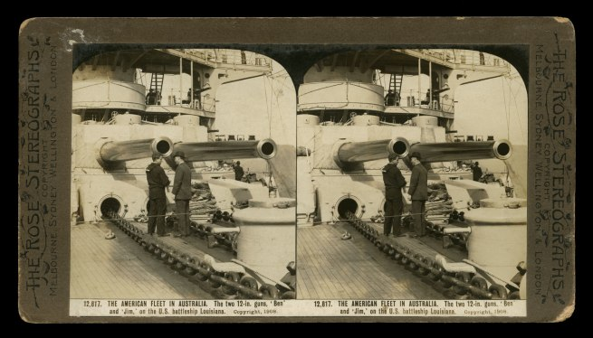The Rose Stereographs. 'The two 12-inch guns, 'Ben' and 'Jim,' on the U.S. battleship Louisiana' 1908