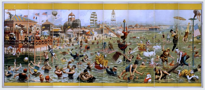 Strobridge Lithographing Company. 'Beach and boardwalk scenes, Coney Island' c. 1898