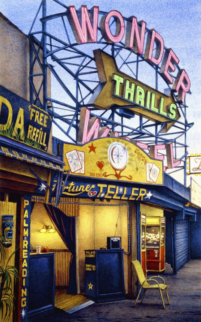 Frederick Brosen (American, born 1954). 'Fortune Teller, Jones Walk, Coney Island' 2008