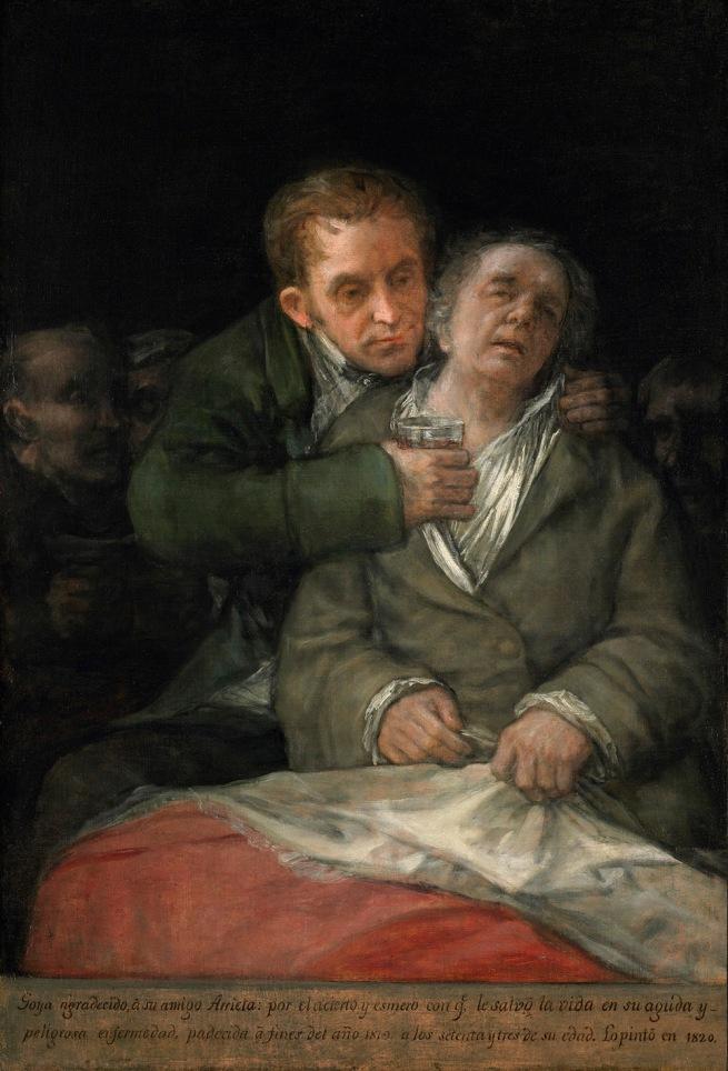 Francisco de Goya. 'Self Portrait with Doctor Arrieta' 1820
