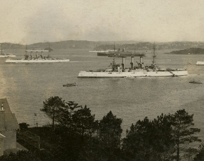 The Rose Stereographs. 'In Sydney Harbour. A view from the heights overlooking Neutral Bay' 1908 (detail)