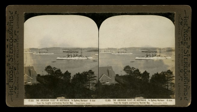 The Rose Stereographs. 'In Sydney Harbour. A view from the heights overlooking Neutral Bay' 1908
