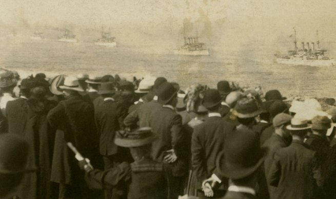 The Rose Stereographs. 'Inside Port Phillip Heads, en route to Hobson's Bay, Victoria' 1908 (detail)