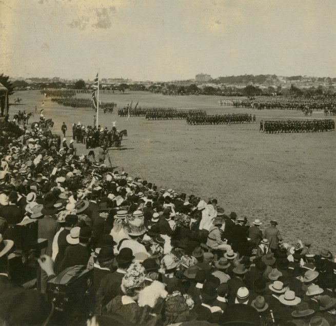 The Rose Stereographs. 'The March Past of the Navy at the Review, Centennial Park, Sydney' 1908 (detail)