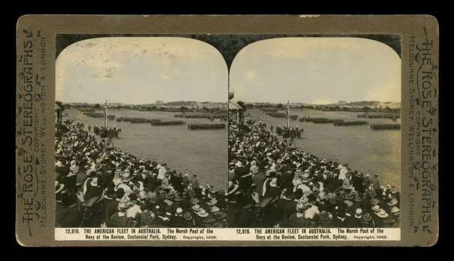 The Rose Stereographs. 'The March Past of the Navy at the Review, Centennial Park, Sydney' 1908