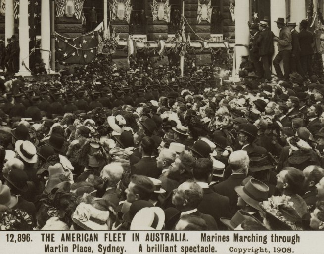 The Rose Stereographs. 'Marines Marching through Martin Place, Sydney' 1908 (detail)