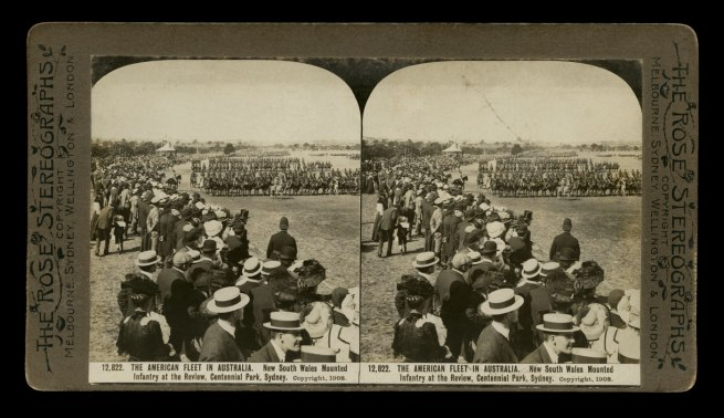 The Rose Stereographs. 'New South Wales mounted infantry at the review, Centennial Park, Sydney' 1908