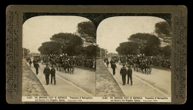 The Rose Stereographs. 'Procession of Metropolitan and Country Fire Brigades, Sydney' 1908