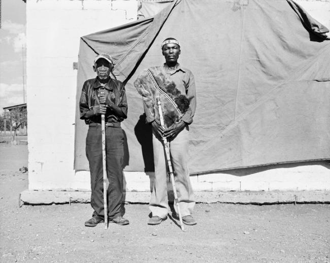 Jo Ractliffe (South African, born 1961) 'Veteran soldiers of 'Omega' 31/201 Battalion, Paulo Cassanga and Automover Kakenge, Schmidtsdrift (portrait under instruction)' 2012