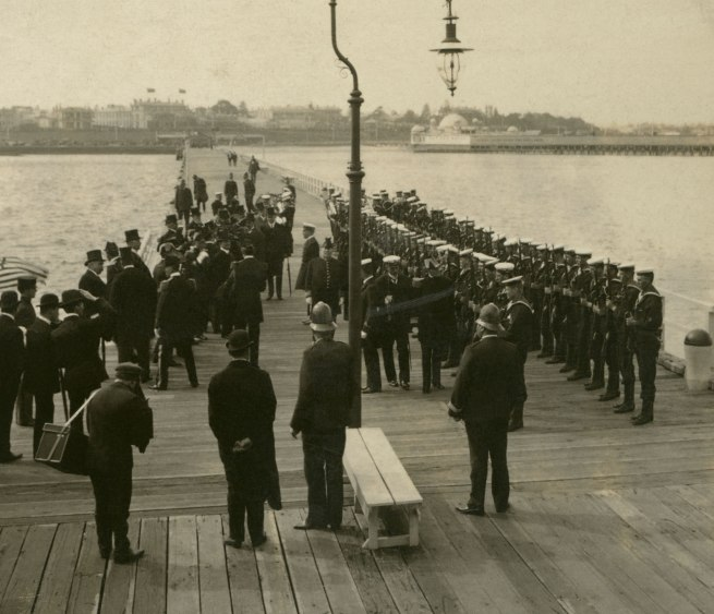 The Rose Stereographs. 'Rear-Admiral Sperry at St. Kilda Pier. Inspection of Naval Brigade' 1908 (detail)