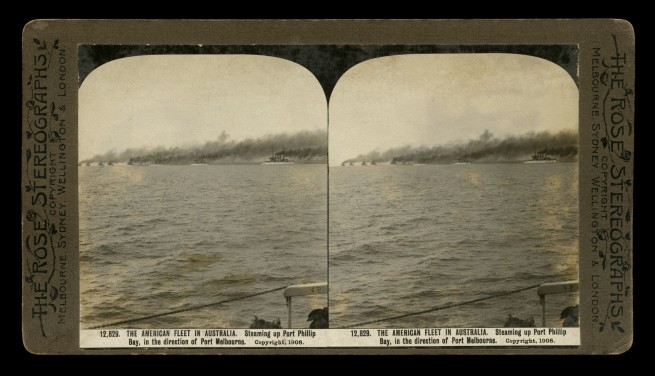 The Rose Stereographs. 'Steaming up Port Phillip Bay, in the direction of Port Melbourne' 1908