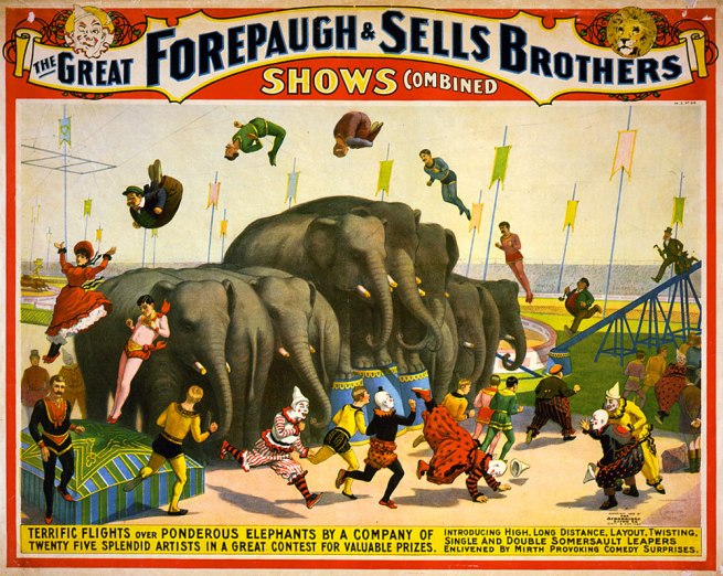 Strobridge Lithographing Company. 'The great Forepaugh & Sells Brothers shows combined' c. 1899