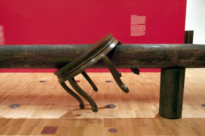 Installation view of Ai Weiwei's 'Pillar through Round Table' (2004-5, detail)