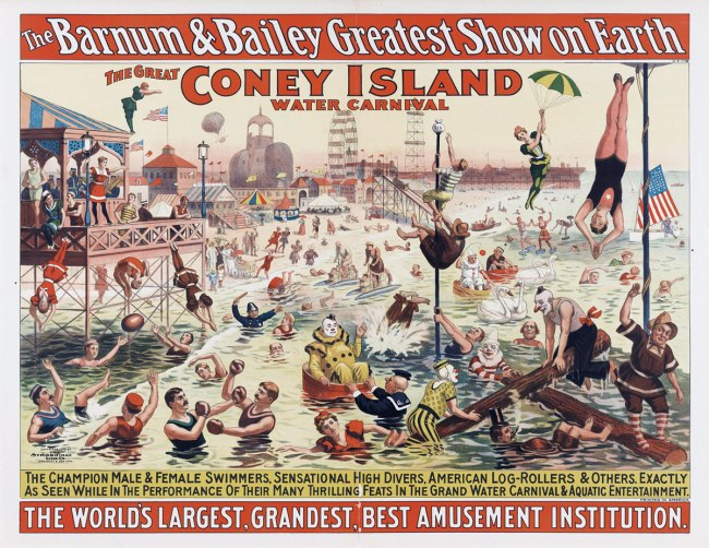 Strobridge Lithographing Company. 'The Barnum & Bailey Greatest Show on Earth /The Great Coney Island Water Carnival /Remarkable Head-Foremost Dives from Enormous Heights into Shallow Depths of Water' 1898