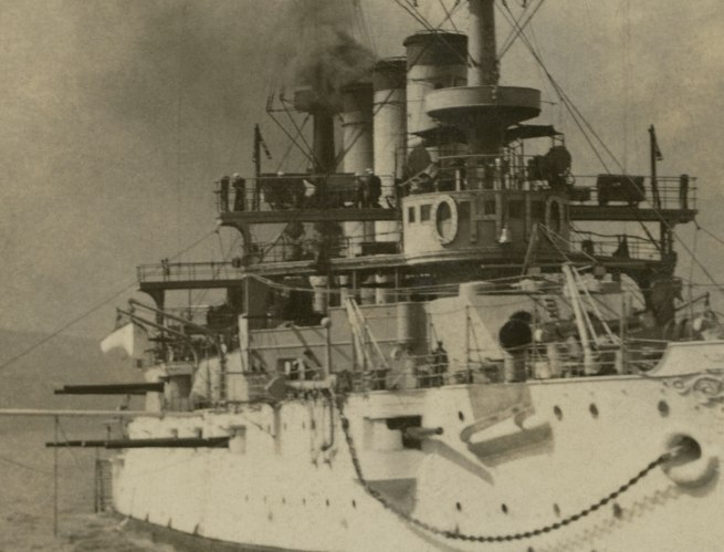 The Rose Stereographs. 'A magnificent view of the fine battleship U.S.S. Ohio' 1908 (detail)